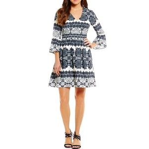 Eliza j fit and flare bell sleeve printed dress